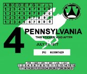 1977-4 Pennsylvania INSPECTION Sticker
