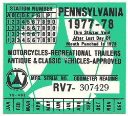 Pennsylvania 1977 cycle Inspection Sticker