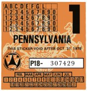 1978-1 Pennsylvania INSPECTION Sticker