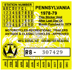 Pennsylvania 1978 Cycle Inspection Sticker