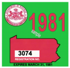 1981 Pennsylvania REGISTRATION Sticker