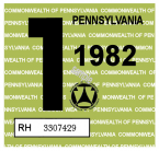1982-1 Pennsylvania INSPECTION Sticker