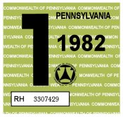 1982 Pennsylvania INSPECTION Sticker