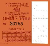 Pennsylvania 1965 Cycle Inspection sticker