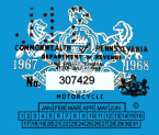 Pennsylvania 1967 Cycle inspection sticker