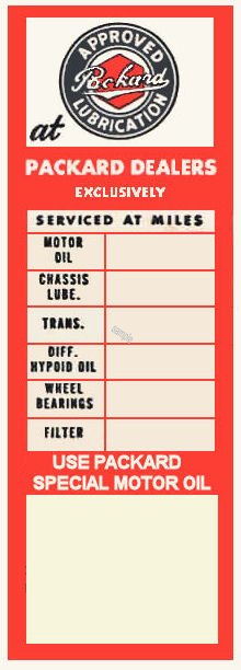 PACKARD Approved Lubrication Door Sticker