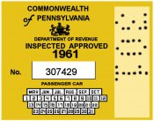 1961 Pennsylvania INSPECTION Sticker