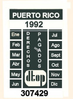 1992 Puerto Rico Inspection sticker