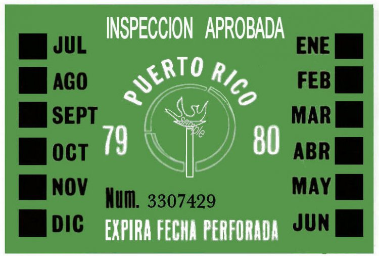 1979-80 Puerto Rico INSPECTION Sticker - Click Image to Close