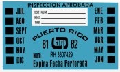 Puerto Rico 1981-82 Inspection sticker