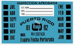 1981-82 Puerto Rico INSPECTION Sticker