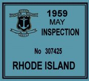 1959 Rhode Island Inspection sticker