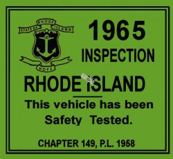 1965 Rhode Island inspection sticker