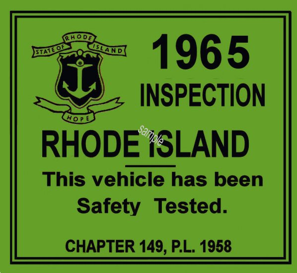 1965 Rhode Island inspection sticker - Click Image to Close