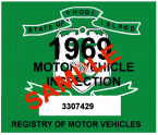 1969 Rhode Island Inspection Sticker