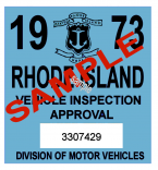 1973 Rhode Island Inspection Sticker