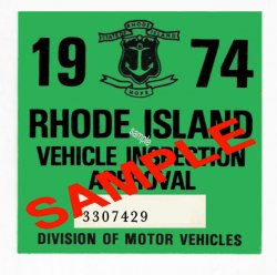 1974 Rhode Island Inspection Sticker