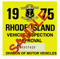 1975 Rhode Island Inspection Sticker