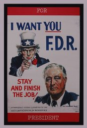 1940's I Want You FDR Window Sticker