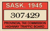 1945 Saskatchewan Canada tax/inspection sticker