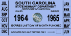 1964-65 South Carolina inspection sticker