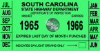 1965 South Carolina inspection sticker