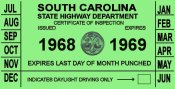 1968-69 SC inspection sticker