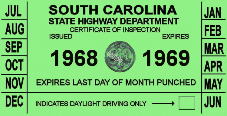 1968-69 SC inspection sticker - Click Image to Close