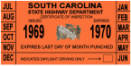1969-70 South Carolina INSPECTION Sticker