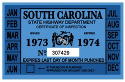 1973-74 South Carolina Inspection Sticker
