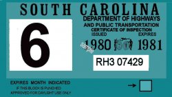 1980-81 South Carolina inspection sticker