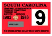 1982-83 South Carolina INSPECTION Sticker