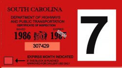 1986-87 South Carolina inspection sticker