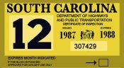 1987-88 South Carolina inspection sticker