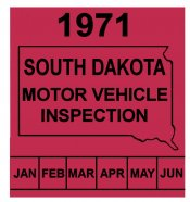 1971 South Dakota INSPECTION Sticker