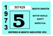 1973-74 South Dakota INSPECTION Sticker
