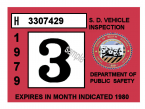 1979-80 South Dakota INSPECTION Sticker