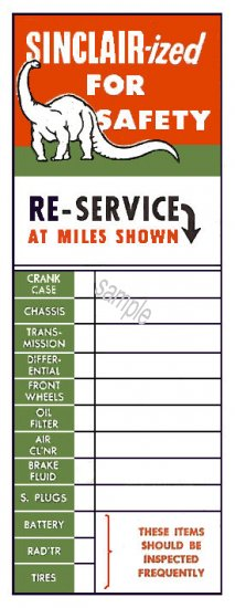 SINCLAIR Service Door Sticker 1950s - Click Image to Close