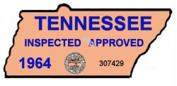 1964 Tennessee Safety Check Inspection Sticker