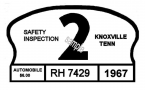 1967 Tennessee Safety Check inspection sticker