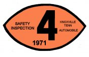 1971 Tennessee INSPECTION Sticker (Knoxville)