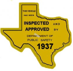 1937 Texas Safety Lane inspection