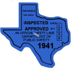 1941 Texas Safety Lane Inspection Sticker