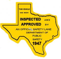 1947 Texas Safety Lane Inspection Sticker