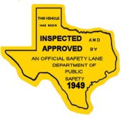 1949 Texas Safety Lane Inspection Sticker