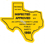 1950 Texas Safety Lane Inspection Sticker