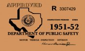1951-52 Texas Inspection Sticker