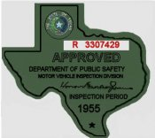 1955 Texas Inspection Sticker