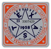 1958 Texas Inspection sticker