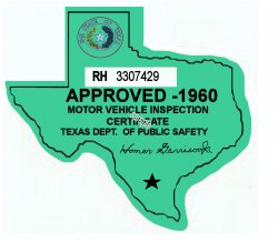 1960 Texas Inspection Sticker